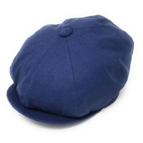 Linen Gatsby 8-piece Cap - Fully Lined - Blue